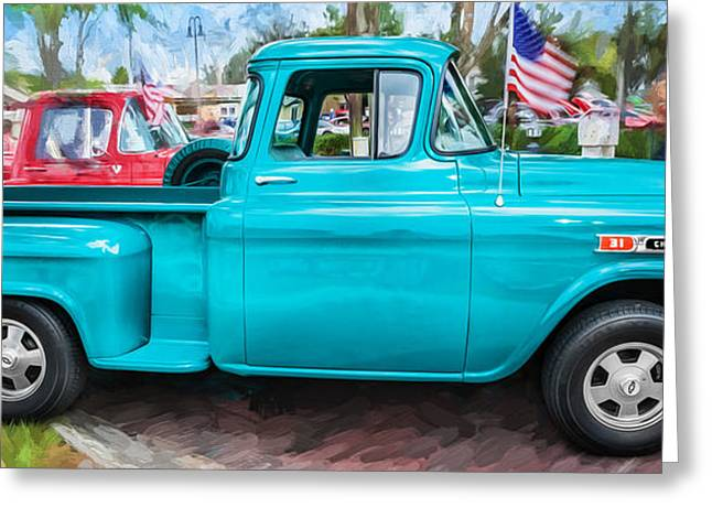 1959 Chevrolet Greeting Cards - 1959 Chevy Pick Up Truck Apache Series Pano Painted  Greeting Card by Rich Franco
