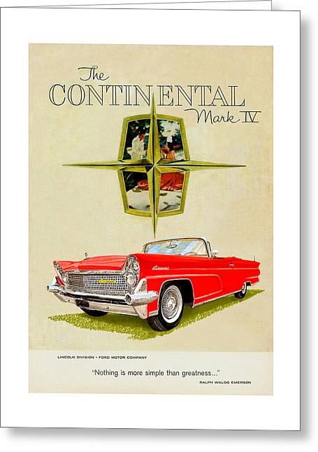 Advertising Mixed Media Greeting Cards - 1959 Continental Vintage Ad Greeting Card by Jack Pumphrey
