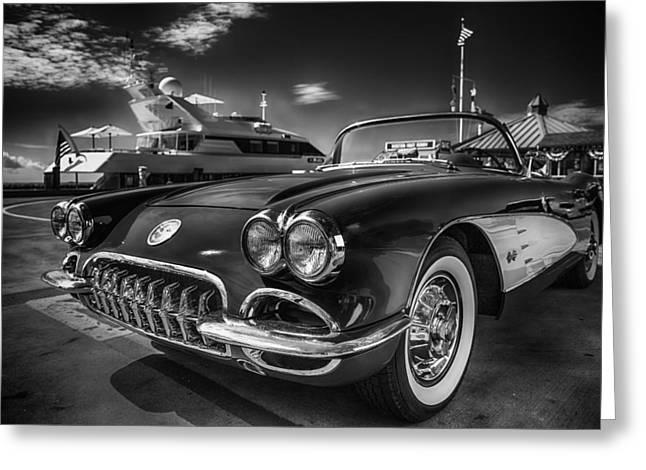 1959 Movies Greeting Cards - 1959 Corvette Chevrolet - Black and White Art Greeting Card by Dapixara Art