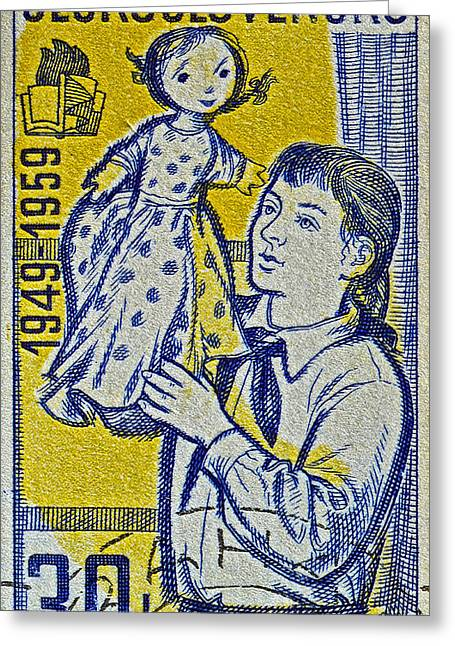 Europe Greeting Cards - 1959 Czechoslovakia Stamp Greeting Card by Bill Owen
