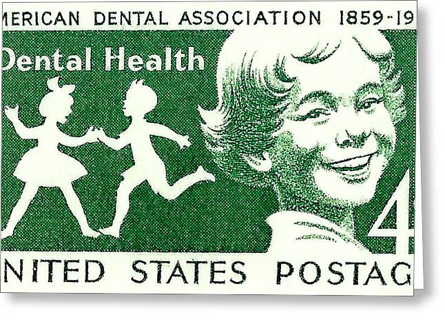 Postal Greeting Cards - 1959 Dental Health Postage Stamp Greeting Card by David Patterson