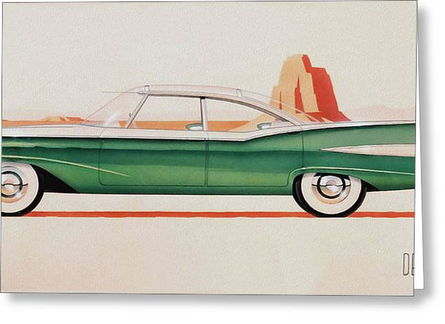 Valiant Greeting Cards - 1959 DESOTO  classic car concept design concept rendering sketch Greeting Card by John Samsen