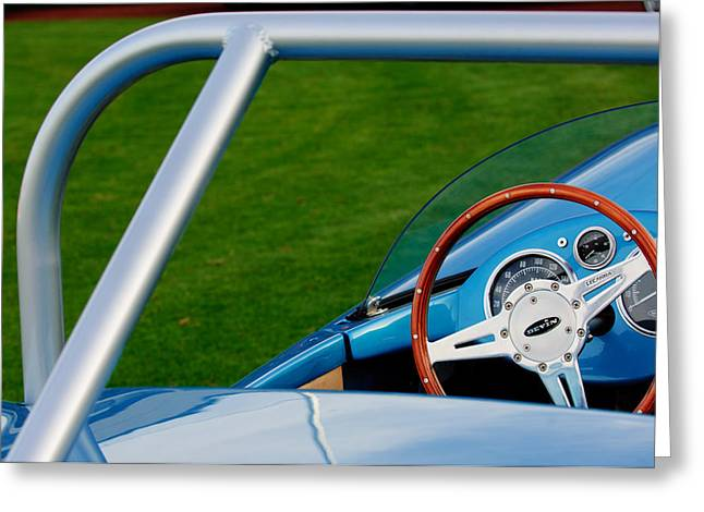 Professional Racing Greeting Cards - 1959 Devin SS Steering Wheel Greeting Card by Jill Reger