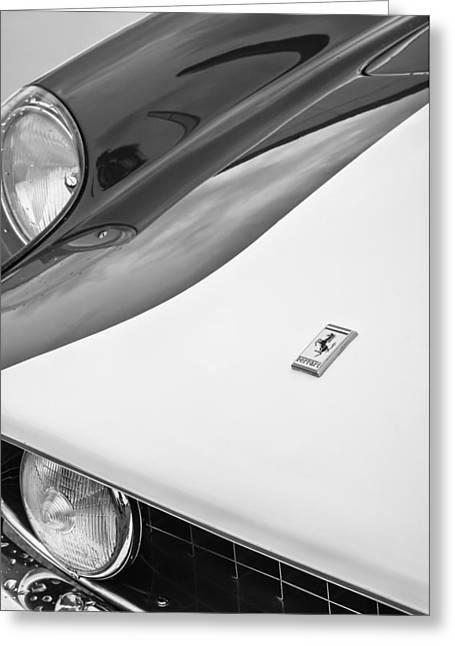 Ferrari 250gt Greeting Cards - 1959 Ferrari 250 Gt Emblem -0010bw Greeting Card by Jill Reger