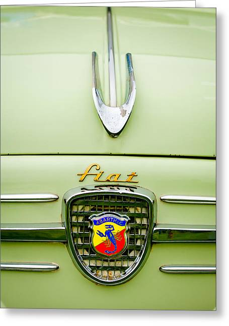 Classic Fiat Greeting Cards - 1959 Fiat 600 Derivazione 750 Abarth Hood Ornament Greeting Card by Jill Reger