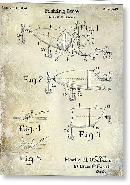 Lake House Greeting Cards - 1959 Fish Lure Patent Drawing  Greeting Card by Jon Neidert