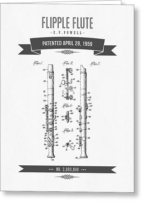 Recently Sold -  - Technical Mixed Media Greeting Cards - 1959 Flipple Flute Patent Drawing Greeting Card by Aged Pixel