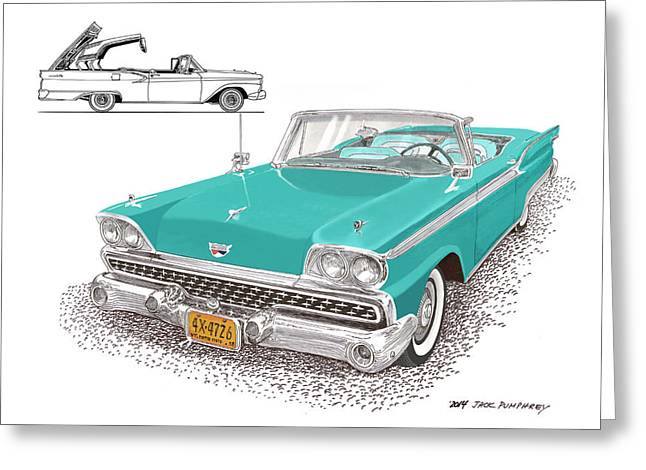 Top Model Greeting Cards - 1959 Ford 500 Fairlane Retractable Hard Top Greeting Card by Jack Pumphrey
