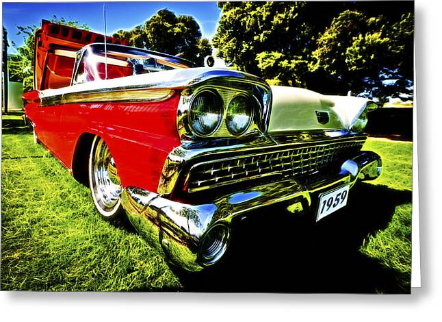 Aotearoa Greeting Cards - 1959 Ford Fairlane 500 Skyliner Greeting Card by motography aka Phil Clark
