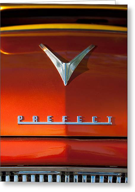 Recently Sold -  - Collector Hood Ornament Greeting Cards - 1959 Ford Prefect Hood Ornament Greeting Card by Jill Reger
