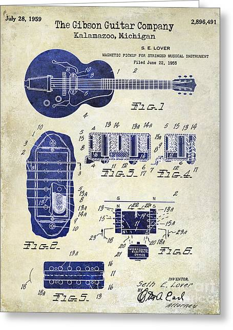 Les Paul Greeting Cards - 1959 Gibson Guitar Patent Drawing 2 Tone Greeting Card by Jon Neidert