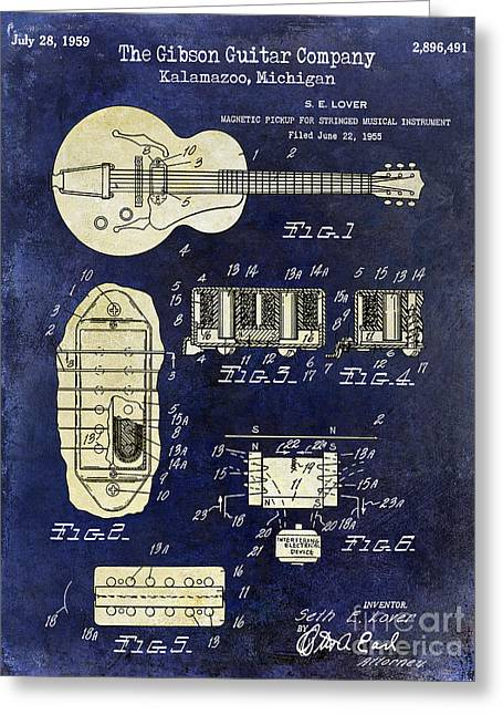 Les Paul Greeting Cards - 1959 Gibson Guitar Patent Drawing Blue 2 Tone Greeting Card by Jon Neidert