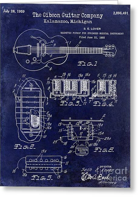 Les Paul Greeting Cards - 1959 Gibson Guitar Patent Drawing Blue Greeting Card by Jon Neidert
