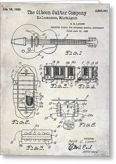 Ohs Greeting Cards - 1959 Gibson Guitar Patent Drawing Greeting Card by Jon Neidert