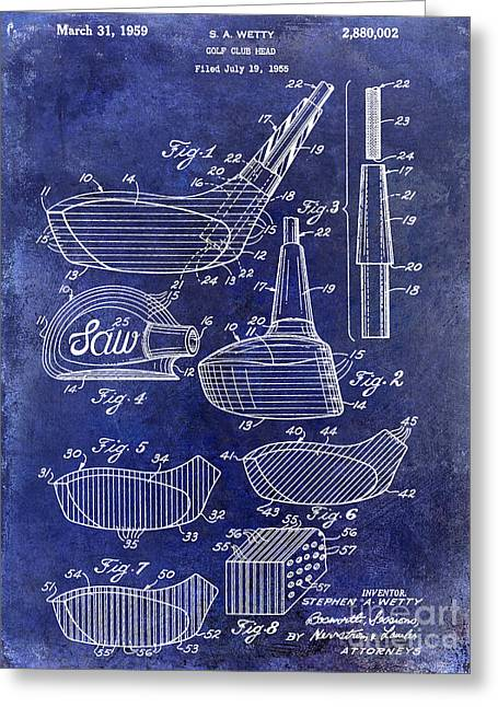 Caddy Photographs Greeting Cards - 1959 Golf Club Patent Drawing Blue Greeting Card by Jon Neidert