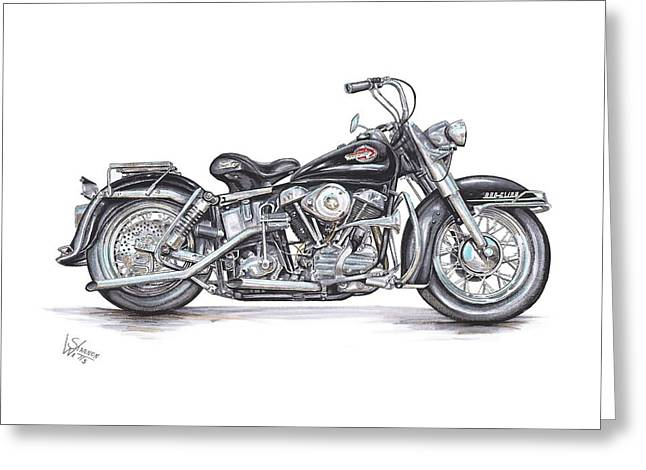 Bike Drawings Greeting Cards - 1959 Harley Davidson Panhead Greeting Card by Shannon Watts