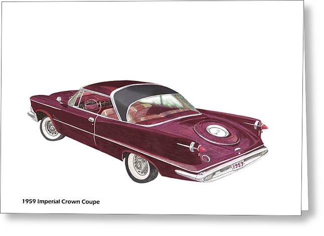 Division Drawings Greeting Cards - 1959 Imperial by Chrysler Greeting Card by Jack Pumphrey