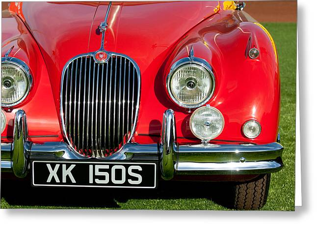 Sot Greeting Cards - 1959  Jaguar XK150 SOTS Grille Greeting Card by Jill Reger