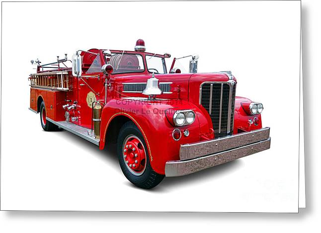 Fire Engines Greeting Cards - 1959 Maxim Fire Truck Greeting Card by Olivier Le Queinec
