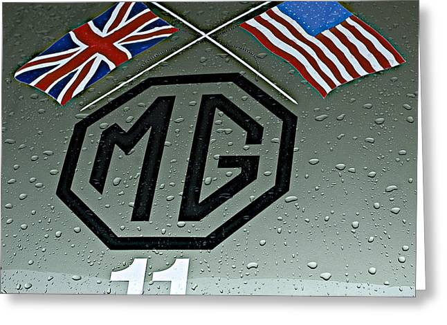 Single Seater Greeting Cards - 1959 MG EX181 Hood Emblem Greeting Card by John Colley