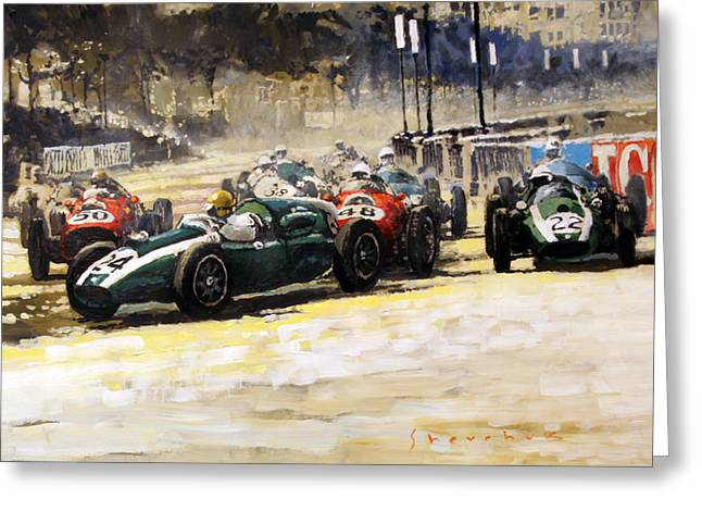Phil Greeting Cards - 1959 Monaco GP  #24 Cooper Climax T51 Jack Brabham Winner  Greeting Card by Yuriy Shevchuk