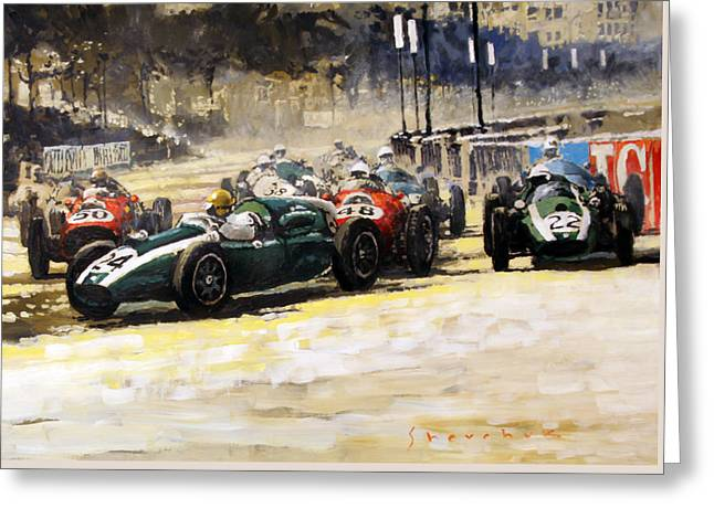 1959 Monaco Gp  #24 Cooper Climax T51 Jack Brabham Winner  Greeting Card by Yuriy Shevchuk