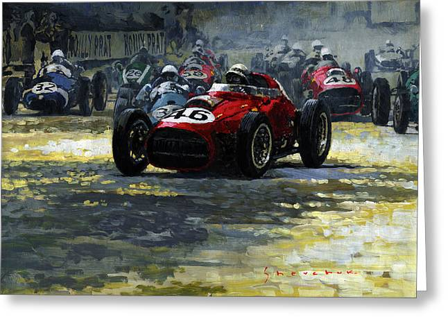 Phils Greeting Cards - 1959 Monaco GP  #46 Ferrari D246 Jean Behra Greeting Card by Yuriy Shevchuk