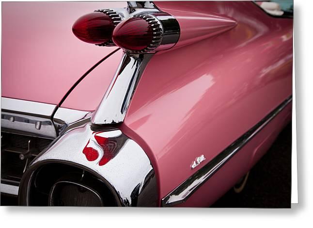 Radiator Badge Greeting Cards - 1959 Pink Cadillac Convertible II Greeting Card by David Patterson
