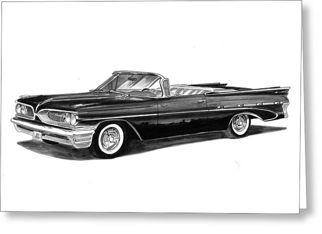 Sized Drawings Greeting Cards - 1959 Pontiac Bonneville Convertible Greeting Card by Jack Pumphrey