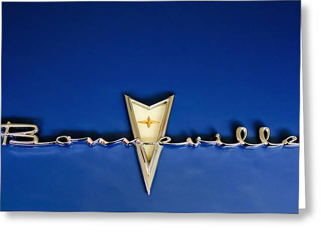 Mascot Photographs Greeting Cards - 1959 Pontiac Bonneville Emblem Greeting Card by Jill Reger