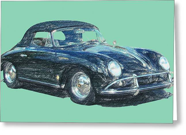 Kitchen Wall Drawings Greeting Cards - 1959 Porsche Carrera GT Greeting Card by Taylan Soyturk