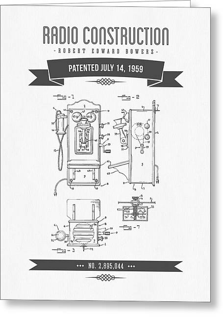 Old Radio Greeting Cards - 1959 Radio Construction Patent Drawing - Retro Gray Greeting Card by Aged Pixel