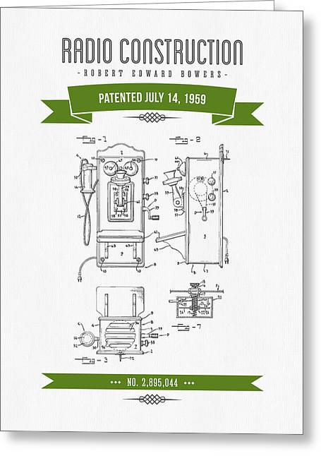 Vintage Radio Greeting Cards - 1959 Radio Construction Patent Drawing - Retro Green Greeting Card by Aged Pixel