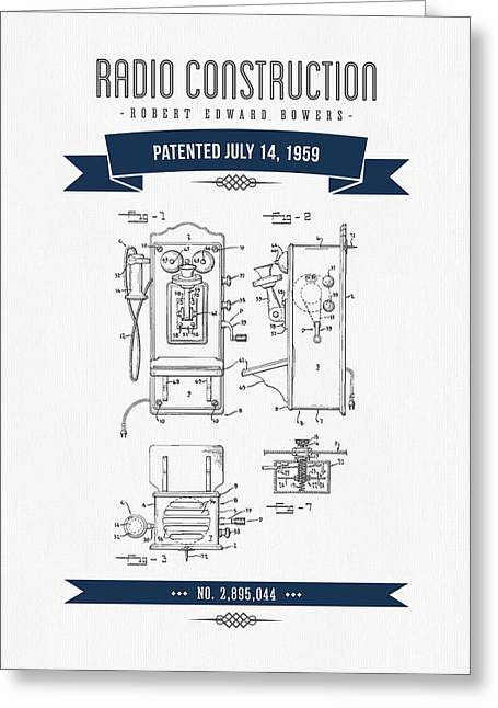 Vintage Radio Greeting Cards - 1959 Radio Construction Patent Drawing - Retro Navy Blue Greeting Card by Aged Pixel