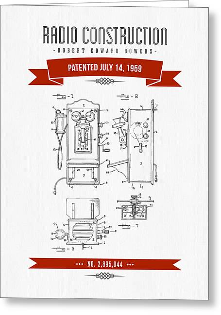 Old Radio Greeting Cards - 1959 Radio Construction Patent Drawing - Retro Red Greeting Card by Aged Pixel