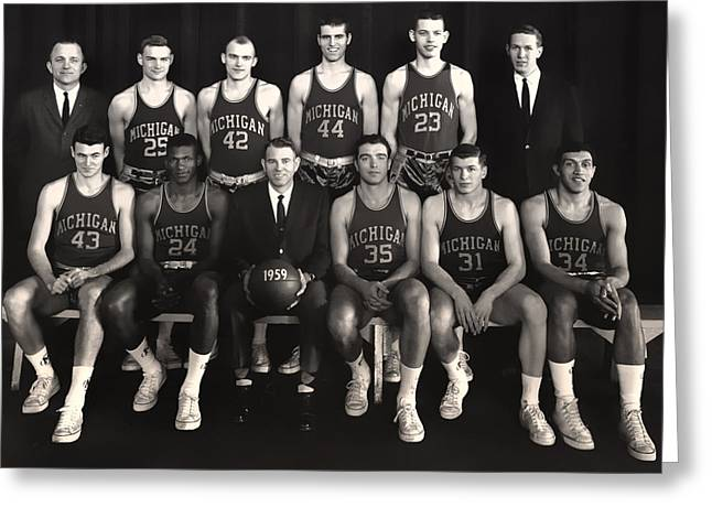 1950s Portraits Greeting Cards - 1959 University of Michigan Basketball Team Photo Greeting Card by Mountain Dreams