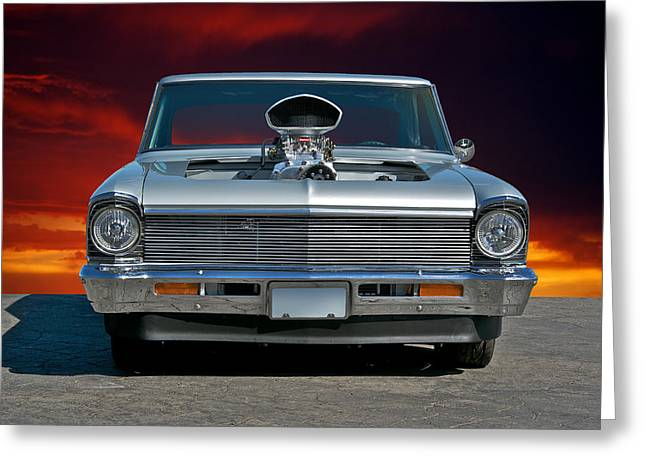 American Automobiles Greeting Cards - 196 Chevy Nova 5 Greeting Card by Dave Koontz