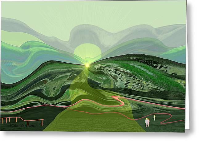 Surreal Landscape Digital Art Greeting Cards - 196 - Mountain-Morning   Greeting Card by Irmgard Schoendorf Welch