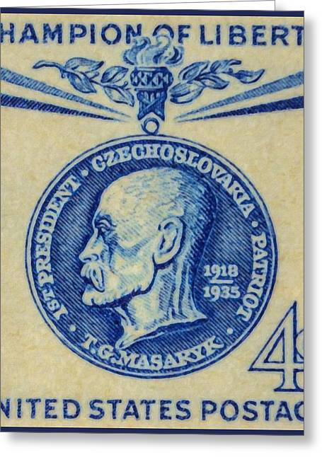 Sociologists Greeting Cards - 1960 4c Thomas G. Masaryk Postage Stamp  Greeting Card by Lanjee Chee
