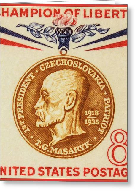 Sociologists Greeting Cards - 1960 8c Thomas G.Masaryk stamp Greeting Card by Lanjee Chee