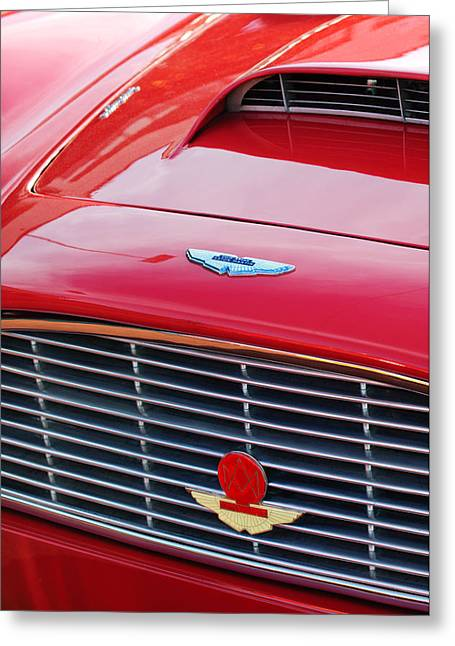 1960 Greeting Cards - 1960 Aston Martin DB4 Grille Emblem Greeting Card by Jill Reger
