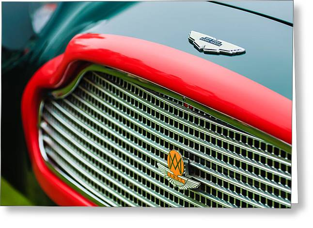 1960 Greeting Cards - 1960 Aston Martin DB4 GT Coupe Grille Emblem Greeting Card by Jill Reger