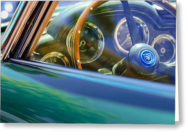 Transportation Greeting Cards - 1960 Aston Martin DB4 Series II Steering Wheel Greeting Card by Jill Reger