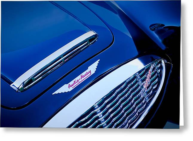 1960 Greeting Cards - 1960 Austin-Healey 3000 MKI BN7 Grille Emblem Greeting Card by Jill Reger