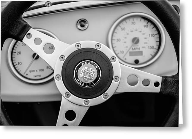 1960 Greeting Cards - 1960 Austin-Healey -Bugeye Sprite MK I Steering Wheel Emblem -1155bw Greeting Card by Jill Reger