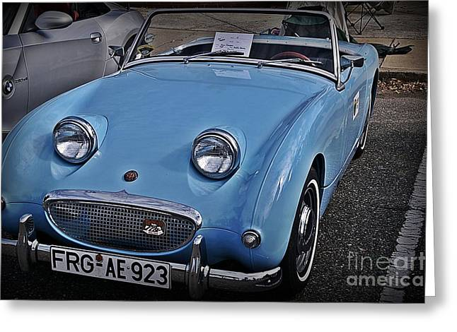 Small Convertible Greeting Cards - 1960 Austin Healy Sprite The Bug Eye Greeting Card by JW Hanley