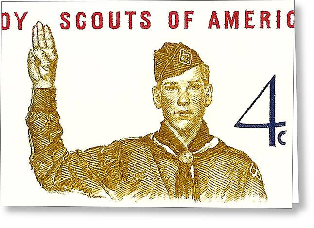 Old Stamps Greeting Cards - 1960 Boy Scouts of America Postage Stamp Greeting Card by David Patterson