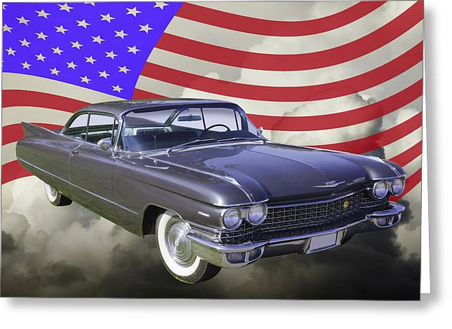 1960 Digital Art Greeting Cards - 1960 Cadillac Luxury Car And American Flag Greeting Card by Keith Webber Jr