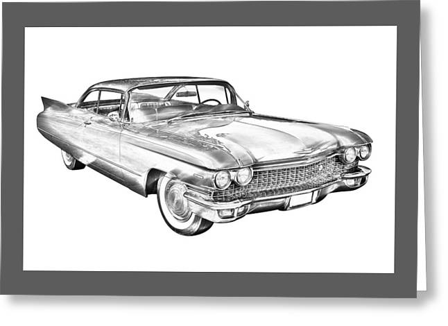 Motor Vehicles Greeting Cards - 1960 Cadillac Luxury Car Illustration Greeting Card by Keith Webber Jr