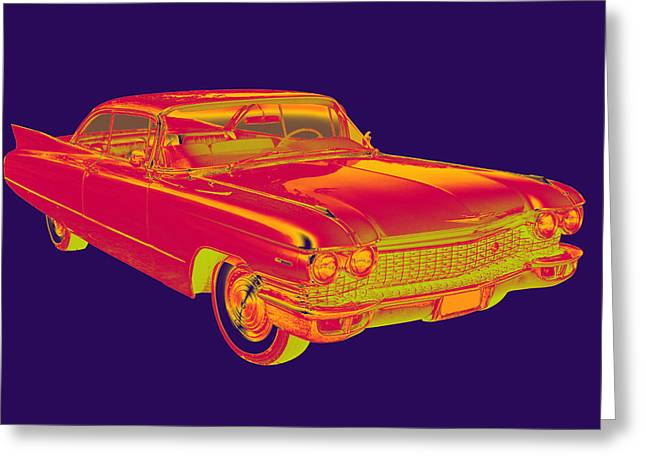 1960 Greeting Cards - 1960 Cadillac Luxury Car Pop Image Greeting Card by Keith Webber Jr